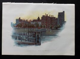 Cassell 1902 Antique Print. Lambeth Palace, from the Bridge. London